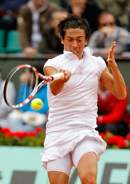Francesca Schiavone Francesca Schiavone of Italy plays a forehand during the women's singles quarterfinal match between Anastasia Pavlyuchenkova of Russia and Francesca Schiavone of Italy on day ten of the French Open at Roland Garros on May 31, 2011 in Paris, France.