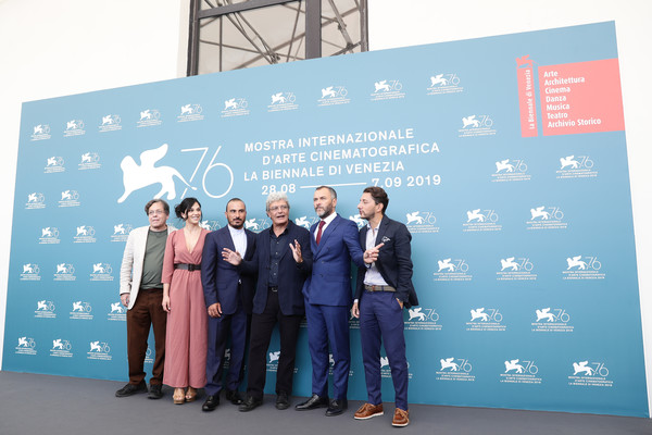 'Il Sindaco Del Rione Sanita' (The Mayor Of Rione Sanita) Photocall - The 76th Venice Film Festival [product,design,event,banner,company,tourism,advertising,massimiliano gallo,mario martone,francesco di leva,daniela ioia,roberto de francesco,adriano pantaleo,il sindaco del rione sanita,the mayor of rione sanita photocall - the 76th venice film festival,venice,italy]