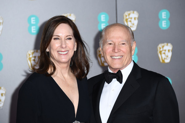 EE British Academy Film Awards 2020 - Red Carpet Arrivals [event,formal wear,suit,award,tuxedo,white-collar worker,smile,official,frank marshall,kathleen kennedy,ee,england,london,royal albert hall,red carpet arrivals,british academy film awards,kathleen kennedy,73rd british academy film awards,frank marshall,photography,image,actor,photograph,lucasfilm]