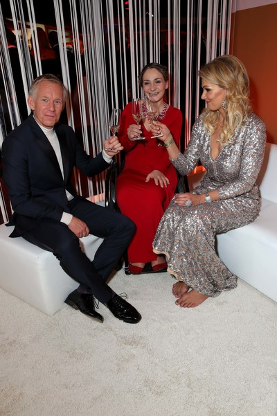 Ball Des Sports 2019 [ball des sports 2019,sitting,leg,suit,event,fun,formal wear,thigh,johannes b. kerner,franziska van almsick,kristina vogel,l-r,germany,wiesbaden,rheinmain congresscenter,ball des sports 2019 gala]