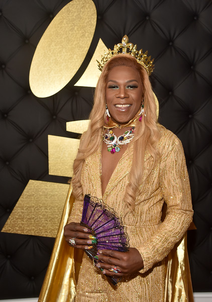 The 59th GRAMMY Awards -  Red Carpet [red carpet,beauty,fashion,fashion accessory,event,fashion design,jewellery,costume,fawn,metal,style,big freedia,staples center,los angeles,california,grammy awards]