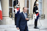 European Council President Donald Tusk leaves following his meeting with the French President Francois Hollande on June 27, 2016 at the Elysee Presidential Palace in Paris.  / AFP / STEPHANE DE SAKUTIN