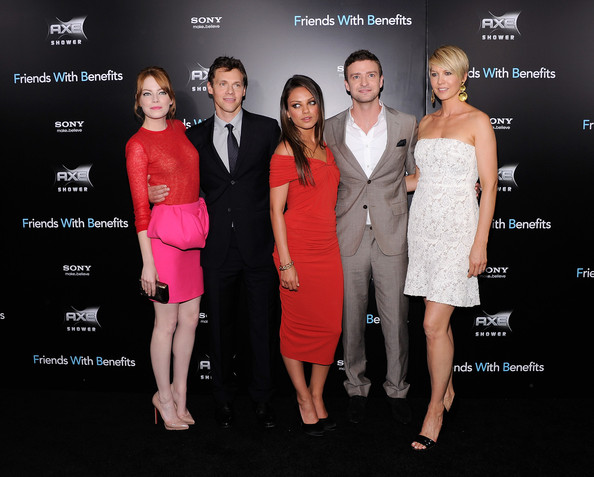 "Actress Emma Stone, director/producer Will Gluck, actress Mila Kunis, actor Justin Timberlake and actress Jenna Elfman attend the ""Friends with Benefits"" premiere at the Ziegfeld Theater on July 18, 2011 in New York City."
