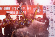 Dominic Cork of Hampshire celebrates with the trophy and team mates after the Friends Provident T20 Final between Hampshire Royals and Somerset at The Rose Bowl on August 14, 2010 in Southampton, England.