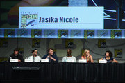 "Actors Anna Torv, Lance Reddick, Jasika Nicole, John Noble and Joshua Jackson attend ""Fringe"" Panel during Comic-Con International 2012 at San Diego Convention Center on July 15, 2012 in San Diego, California."