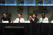 "Writer J.H. Wyman, actors Joshua Jackson, John Noble and Lance Reddick speak at ""Fringe"" Panel during Comic-Con International 2012 at San Diego Convention Center on July 15, 2012 in San Diego, California."