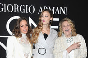 Beatrice Borromeo (C), Marta Marzotto (L) and a guest attend the Giorgio Armani Prive show as part of Paris Fashion Week Haute Couture Spring/Summer 2014 on January 21, 2014 in Paris, France.