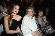 (L-R) Beatrice Borromeo, Marta Marzotto and Claudia Cardinale attend the Giorgio Armani Prive show as part of Paris Fashion Week Haute Couture Spring/Summer 2014 on January 21, 2014 in Paris, France.