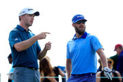 Martin Laird of Scotland and Graham DeLaet of Canada talk on the second tee during the third round of the Frys.com Open on October 17, 2015 at the North Course of the Silverado Resort and Spa in Napa, California.