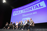 (L-R) Moderator Carrie Brownstein, Writer/corresponder Ashley Nicole Black, Producer/contributer Mike Rubens, Producer/contributer Allana Harkin, Executive producer/host Samantha Bee, Executive producer Jo Miller, Executive producer Miles Kahn, Producer Alison Camillo and Supervising Producer Pat King speak onstage at the Full Frontal with Samantha Bee FYC Event 2017 LA at the Samuel Goldwyn Theater on May 23, 2017 in Beverly Hills, California. 27026_002