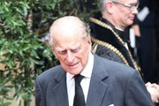 Prince Philip, Duke of Edinburgh after the funeral service of Patricia Knatchbull, Countess Mountbatten of Burma at St Paul's Church in Knightsbridge on June 27, 2017 in London, England.