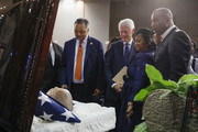 (left to right) The Rev. Jesse Jackson, former President Bill Clinton, and Monica Conyers, the wife of former U.S. Congressman John Conyers Jr. (D-MI), pay their respects at the casket of John Conyers Jr. during his funeral at Greater Grace on November 4, 2019 in Detroit, Michigan. Conyers, who died on October 27 at the age of 90, was the longest serving African American member of the U.S House of Representatives in U.S. history, and the third longest serving House member, having held the office for more than 50 years.