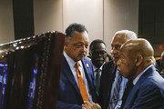 Rev. Jesse Jackson (left), Nate Conyers (center), brother of John Conyers Jr., and Congressman John Lewis (right) pay their respects at the casket of former U.S. Congressman John Conyers Jr. (D-MI), at Greater Grace Temple during his funeral on November 4, 2019 in Detroit, Michigan. Conyers, who died on October 27 at the age of 90, was the longest serving African American member of the U.S House of Representatives in U.S. history, and the third longest serving House member, having held the office for more than 50 years.