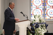 Former House Speaker John Boehner speaks during the funeral service for former Rep. John Dingell (D-MI) on February 14, 2019 at Holy Trinity Catholic Church in Washington, DC. Dingell, who represented southeast Michigan for 59 years in the House of Representatives, died last week at age 92.