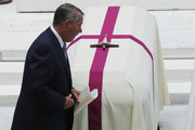 Former U.S. Speaker of the House John Boehner walks past the casket as he delivers a eulogy for former U.S. Rep. John Dingell (D-MI) at his funeral February 14, 2019 at Holy Trinity Church in Washington, DC. Rep. Dingell, the longest serving member of the House of Representatives, representing Michigan's 12th, 15th and 16th districts between 1955 and 2015, passed away on Feb 7, 2019 at the age of 92.