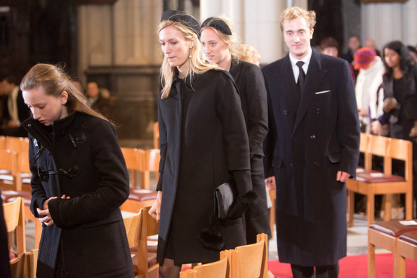 Prince Amadeo, Princess Louisa Maria, Princess Elisabette Maria and Princess Maria Laura of Belgium attend the funeral of Queen Fabiola at Notre Dame Church on December 12, 2014 in Laeken, Belgium.