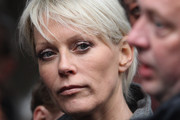 Helen Chamberlain attends the funeral of Jocky Wilson at Kirkcaldy crematorium on April 3, 2012 in Kirkcaldy. Mr Wilson had been suffering with a lung disorder chronic pulmonary obstructive disease passed away last Saturday at his home two days after his 62nd Birthday. He started his career in 1979 and was twice the World professional Darts Champion in 1982 and 1989.