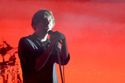 Thomas Mars of the band Phoenix performs live for fans as part of the 2014 Future Music Festival at RNA Showgrounds on March 1, 2014 in Brisbane, Australia.