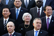 Myanmar's Minister of Finance Win Shein (L), Russian Finance Minister Anton Siluanov (2/L), US Federal Reserve chief Janet Yellen (C), Australia's Treasurer Joe Hockey (2/R) and Japan's Deputy Prime Minister and Finance Minister Taro Aso (R) pose during the G20 Finance Ministers and Central Bank Governors official group photo on February 22, 2014 in Sydney, Australia. This event is the first major G20 meeting under Australia's presidency in 2014.