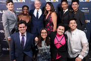 (L-R) GLSEN executive director Eliza Byard, Matthew Yekell, Ayana Boyd, Tim Cook, Jessica Chiriboga, Jessica Chiriboga, Soli Guzman, El Martinez, Elle Smith, Eric Samelo, and Darid Prom pose backstage at the GLSEN Respect Awards Los Angeles at the Beverly Wilshire Four Seasons Hotel on October 25, 2019 in Beverly Hills, California.