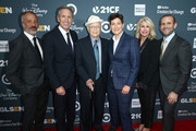 (L-R) David Kohan, Howard Schultz, Norman Lear, Executive Director of GLSEN Eliza Byard, Sheri Kersch Schultz and Max Mutchnick attend the GLSEN Respect Awards at the Beverly Wilshire Four Seasons Hotel on October 19, 2018 in Beverly Hills, California.