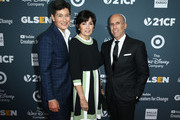 Executive Director of GLSEN Eliza Byard, Marilyn Katzenberg and Jeffrey Katzenberg attend the GLSEN Respect Awards at the Beverly Wilshire Four Seasons Hotel on October 19, 2018 in Beverly Hills, California.