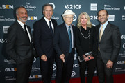 (L-R) David Kohan, Howard Schultz, Norman Lear, Sheri Kersch Schultz and Max Mutchnick attend the GLSEN Respect Awards at the Beverly Wilshire Four Seasons Hotel on October 19, 2018 in Beverly Hills, California.