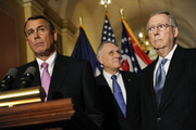 (L to R) House Speaker John Boehner (R-OH) U.S. Sen. Jon Kyl (R-AZ) and Senate Minority Leader Mitch McConnell (R-KY) speak to reporters about meeting with U.S. President Barack Obama over the deficit debate at the U.S. Capitol on April 13, 2011 in Washington, DC. Obama is scheduled to make a major budget address this afternoon.