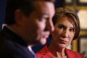 Vice Presidential candidate and former Hewlett-Packard chief executive Carly Fiorina looks on as Republican presidential candidate Sen. Ted Cruz (R-TX) speaks with the media before participating in a taping of Fox News Channel's The Sean Hannity Show at the Indiana War Memorial on April 29, 2016 in Indianapolis, Indiana. Cruz continues to campaign leading up to the state of Indiana's primary day on Tuesday.