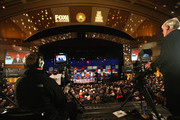 Presidential candidates Rick Santorum (L-R), New Jersey Governor Chris Christie, Mike Huckabee, and Louisiana Governor Bobby Jindal take part in the Republican Presidential Debate sponsored by Fox Business and the Wall Street Journal at the Milwaukee Theatre November 10, 2015 in Milwaukee, Wisconsin. The fourth Republican debate is held in two parts, one main debate for the top eight candidates, and another for four other candidates lower in the current polls.