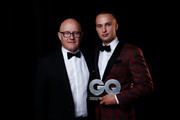 Kim Ledger and Mojean Aria backstage at the GQ Men Of The Year Awards at The Star on November 15, 2017 in Sydney, Australia.