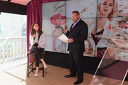 Amber Heard and SVP Global Marketing, Coty Beauty, Steve Mormoris speak at GUESS Girl Fragrance Launch at Palazzo Chupi on October 18, 2012 in New York City.