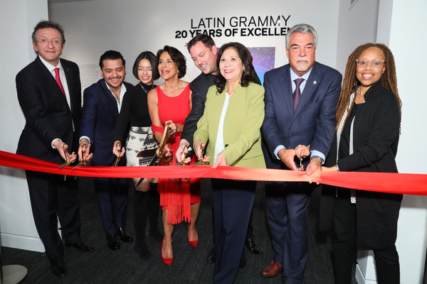 Latin Music Gallery Ribbon Cutting [red,event,team,company,businessperson,management,tourism,fashion accessory,president,hilda solis,director,deputy,christian nodal,los angeles,the grammy museum,council,latin academy of recording arts sciences,latin music gallery ribbon cutting]