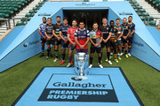 (L-R) Taulupe Faletau of Bath Rugby, Toby Flood of Newcastle Falcons, Tom Wood of Northampton Saints, Jonno Ross of Sale Sharks, Jaco Kriel of Gloucester Rugby, George Smith of Bristol Bears, Danny Care of Harlequins, Owen Farrell of Saracens, Christian Wade of Wasps, Ben Youngs of Leicester Tigers, Jack Nowell of Exeter Chiefs and Ben Te'o of Worcester Warriors pose for a photo during the Gallagher Premiership Rugby 2018-19 Season Launch at Twickenham Stadium on August 23, 2018 in London, England.