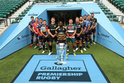 (L-R) Jonno Ross of Sale Sharks, Jaco Kriel of Gloucester Rugby, George Smith of Bristol Bears, Danny Care of Harlequins, Owen Farrell of Saracens, Christian Wade of Wasps, Ben Youngs of Leicester Tigers, Jack Nowell of Exeter Chiefs, Ben Te'o of Worcester Warriors, Taulupe Faletau of Bath Rugby, Toby Flood of Newcastle Falcons and Tom Wood of Northampton Saints pose for a photo during the Gallagher Premiership Rugby 2018-19 Season Launch at Twickenham Stadium on August 23, 2018 in London, England.