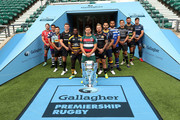 (L-R) Jaco Kriel of Gloucester Rugby, George Smith of Bristol Bears, Danny Care of Harlequins, Owen Farrell of Saracens, Christian Wade of Wasps, Ben Youngs of Leicester Tigers, Jack Nowell of Exeter Chiefs, Ben Te'o of Worcester Warriors, Taulupe Faletau of Bath Rugby, Toby Flood of Newcastle Falcons, Tom Wood of Northampton Saints and Jonno Ross of Sale Sharks pose for a photo during the Gallagher Premiership Rugby 2018-19 Season Launch at Twickenham Stadium on August 23, 2018 in London, England.