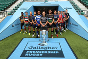 (L-R) Christian Wade of Wasps, Ben Youngs of Leicester Tigers, Jack Nowell of Exeter Chiefs, Ben Te'o of Worcester Warriors, Taulupe Faletau of Bath Rugby, Toby Flood of Newcastle Falcons, Tom Wood of Northampton Saints, Jonno Ross of Sale Sharks, Jaco Kriel of Gloucester Rugby, George Smith of Bristol Bears, Danny Care of Harlequins and Owen Farrell of Saracens pose for a photo during the Gallagher Premiership Rugby 2018-19 Season Launch at Twickenham Stadium on August 23, 2018 in London, England.