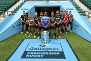 (L-R) Owen Farrell of Saracens, Christian Wade of Wasps, Ben Youngs of Leicester Tigers, Jack Nowell of Exeter Chiefs, Ben Te'o of Worcester Warriors, Taulupe Faletau of Bath Rugby, Toby Flood of Newcastle Falcons, Tom Wood of Northampton Saints, Jonno Ross of Sale Sharks, Jaco Kriel of Gloucester Rugby, George Smith of Bristol Bears and Danny Care of Harlequins pose for a photo during the Gallagher Premiership Rugby 2018-19 Season Launch at Twickenham Stadium on August 23, 2018 in London, England.