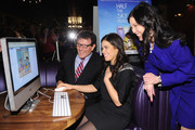 Nicholas D. Kristof, America Ferrera and Sheryl WuDunn attend Games For Change presents the launch of Half The Sky Movement: The Game at No. 8 on March 4, 2013 in New York City.