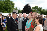 Prince Philip, Duke of Edinburgh speaks to guests at a garden party at Buckingham Palace on June 1, 2017in London, England.