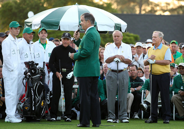 The Masters - Round One [championship,golf,fourball,sport venue,team,recreation,competition event,event,golfer,competition,william porter payne,starters,gary player,arnold palmer,masters - round one,tee box,l-r,south africa,augusta national golf club,start]