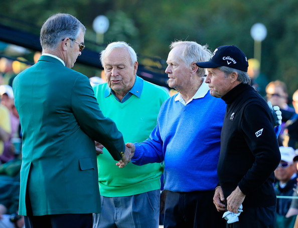 The Masters: Round 1 [recreation,fourball,event,championship,coach,competition event,golf,crowd,tee,william porter payne,starters,arnold palmer,gary player,jack nicklaus,masters - round one,augusta national golf club,start,round]