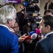 Geert Wilders Politicians Talk to the Press Following a Meeting at the Dutch Parliament Building