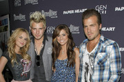 """(L-R) Musicians Cheyenne Kimball, Mike Gossin, Rachel Reinert and Tom Gossin of Gloriana attends the screening of """"Paper Heart"""" at AMC Loews 19th Street on August 5, 2009 in New York City."""