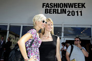 Verena Kerth (L) and Natascha Gruend attend the Mercedes Benz Fashion Week Spring/Summer 2011 at Bebelplatz on July 7, 2010 in Berlin, Germany.