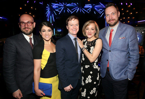 2015 Tony Awards Nominees' Luncheon [event,fashion,formal wear,fun,suit,smile,nominees,robert askins,geneva carr,moritz von stuelpnagel,sarah stiles,steven boyer,luncheon,l-r,paramount hotel,tony awards]