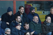 Francesco Totti (top centre) is seen in the tribune during the Serie A match between Genoa CFC and AS Roma at Stadio Luigi Ferraris on November 26, 2017 in Genoa, Italy.