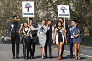 """(L-R) Nathan Henry, Scott Timlin, Holly Hagan, Aaron Chalmers, Charlotte Crosby, Chloe Etherington, Holly Hagan, Charlotte Crosby, Chloe Etherington, Kyle Christie, Marnie Simpson and Gaz Beadle  attend a photocall to launch series 10 of """"Geordie Shore"""" at Speaker's Corner on March 11, 2015 in London, England."""
