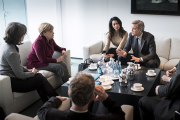 George Clooney Chancellor Merkel Meets George and Amal Clooney