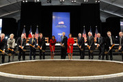 (L-R) David Ferriero, National Archivist; Ray Hunt, Board Trustee; Caren Prothro, SMU Board of Trustees; Alan Lowe, Director of The President George W. Bush Library; Robert Stern, Architect of the George W. Bush Center; Gerald Turner , President of Southern Methodist University; Condolezza Rice, Former Secretary of State; George W. Bush, Former President; Laura Bush, Former First Lady; Dick Cheney, Former Vice President; Mark Langdale, President of The George W. Bush Foundation; Don Evans, Former Secretary of Commerce; Michael Van Valkenburgh, Landscape Architect of The George W. Bush Center; Mark Craig, Pastor of Highland Park United Methodist Church; and Jake Torres, Southern Methodist University Student Body President break ground during the George W. Bush Presidential Center groundbreaking ceremony on November 16, 2010 in Dallas, Texas. The George W. Bush Presidential Center is a state-of-the-art  250 million dollar complex that will include former President George W. Bush's presidential library and museum, the George W. Bush Policy Institute, and the offices of the George W. Bush Foundation.